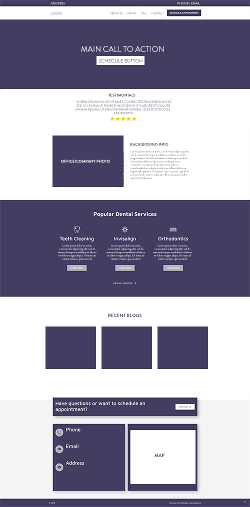 homepage layout for a dental office