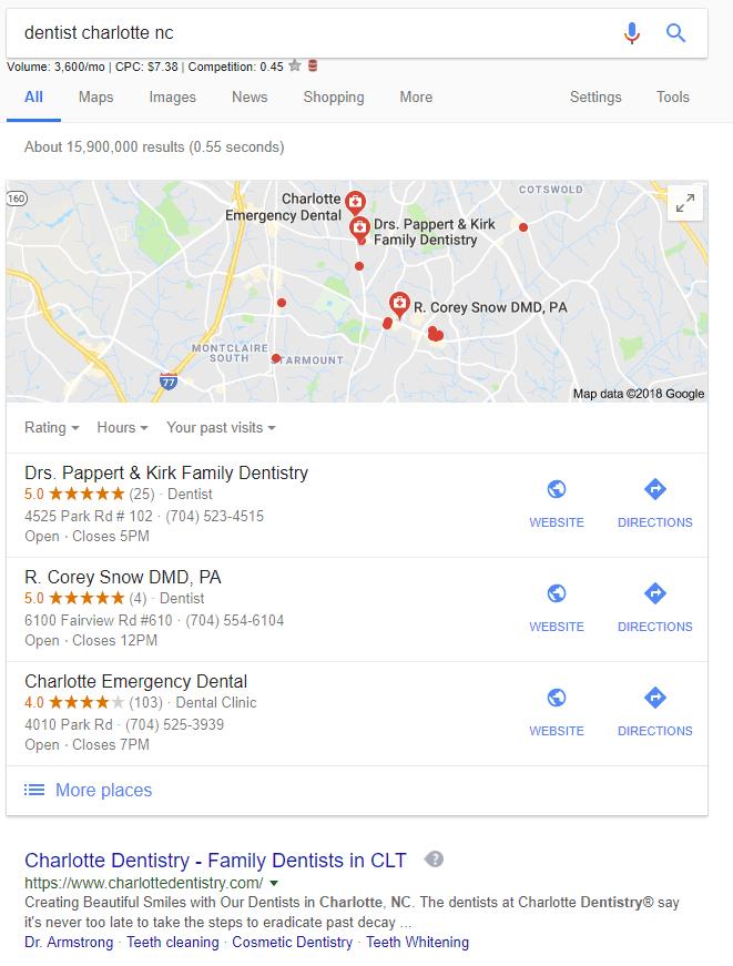 Dentist Charlotte, NC search