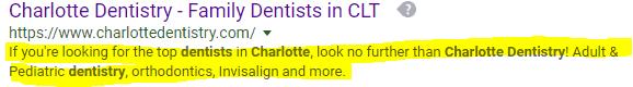 meta description for dental website