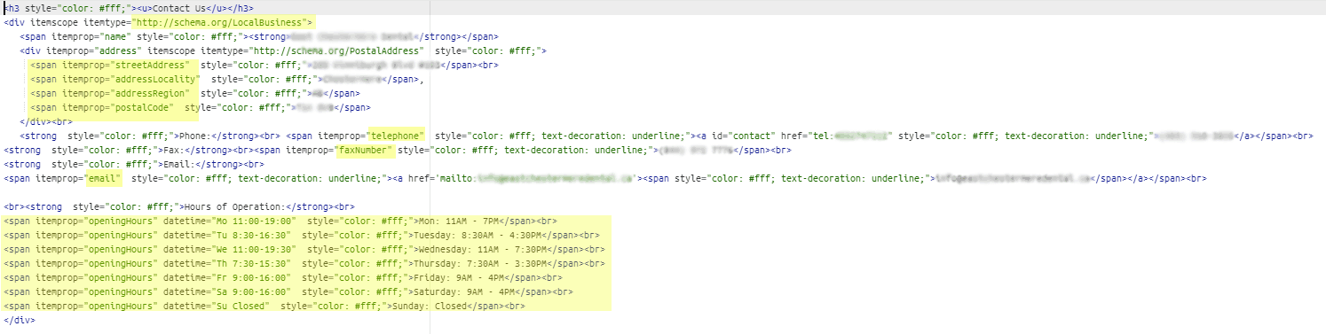 example of schema markup for a dental office