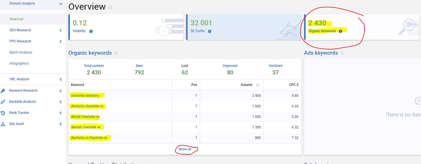Serp Stat results page for dental website